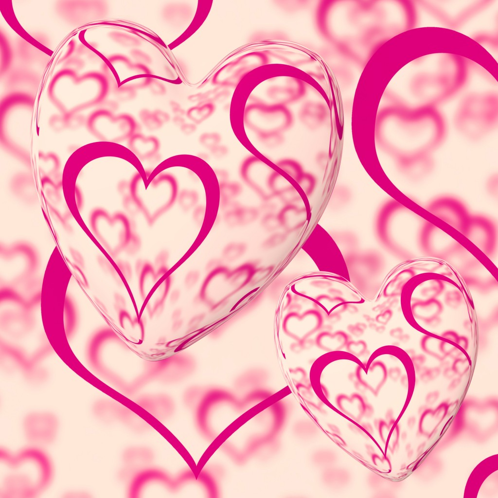 Pink Hearts Design On A Heart Background Shows Love Romance And Romantic Feelings