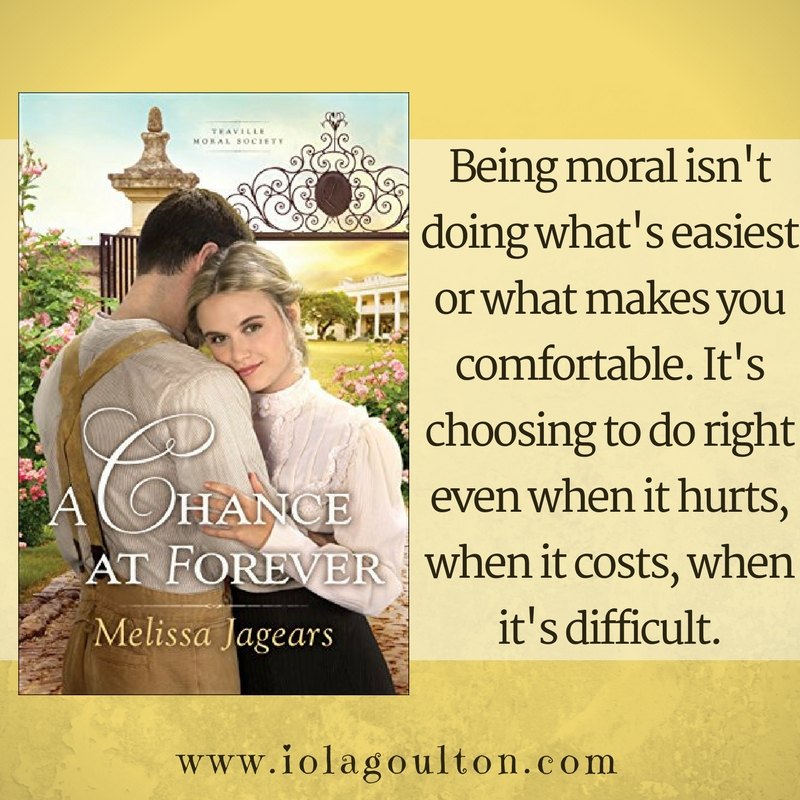 Quote from A Chance at Forever: Being moral isn't doing what's easiest or what makes you comfortable, but rather, it's choosing to do right even when it hurts, when it costs, when it's difficult.