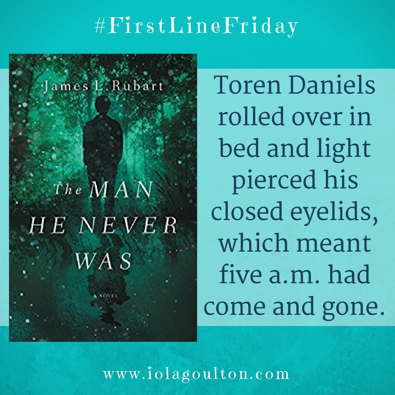 First line from The Man He Never Was by  James L Rubart:  Toren Daniels rolled over in bed and light pierced his closed eyelids, which meant five a.m. had come and gone.