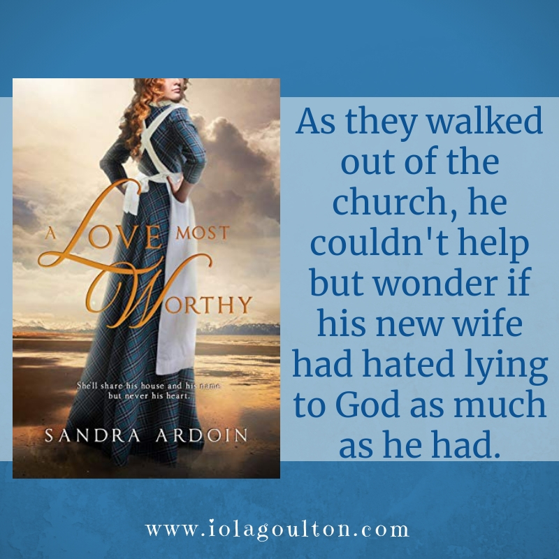 Quote from A Love Most Worthy: As they walked out of the church, he couldn't help but wonder if his new wife had hated lying to God as much as he had.